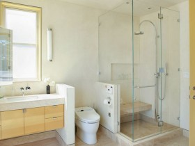 Bright bathroom with toilet