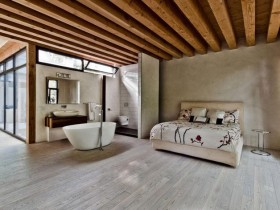 The idea of the bedroom design with bath