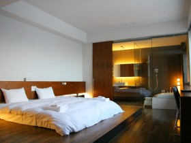 Modern bedroom with bathroom