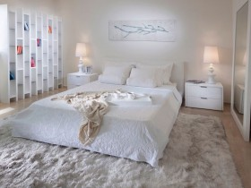 White bedroom in modern style