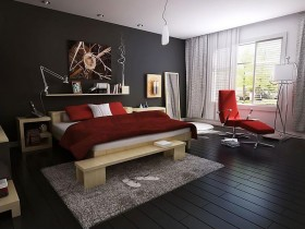 Black-and-white bedroom in modern style