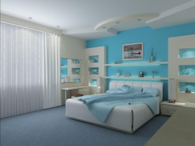 Modern bedroom in turquoise