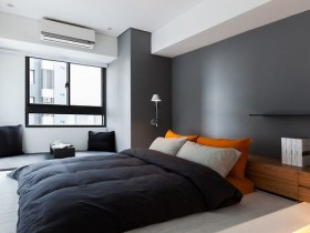 Gray and white bedroom, modern style