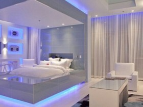 Bed with lighting in modern bedroom