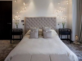 Modern bedroom with beautiful lighting