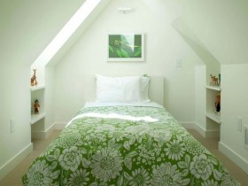 Bedroom green color with sloping ceiling
