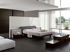 Black and white bedroom in minimalist style