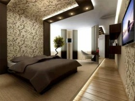 Interesting design of modern bedroom
