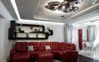 White living room in high-tech style with red sofa