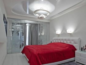 White bedroom in the style of hi-tech