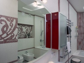 The interior of a large white bathroom