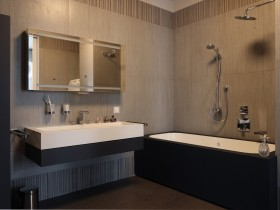The interior of a modern bathroom