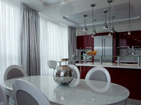 White dining room in the style of hi-tech