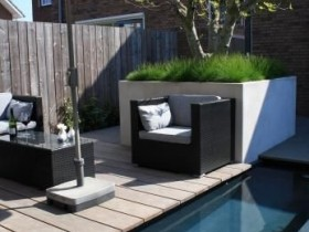 Relaxation area in a modern garden