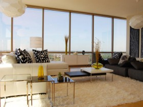 Modern living room with large Windows