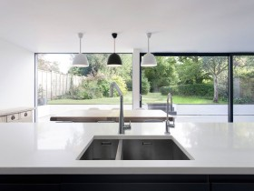 The design of the sink in the kitchen