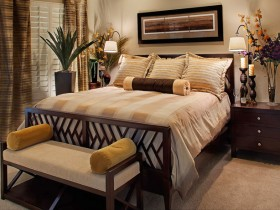 Bedroom interior in warm shades of