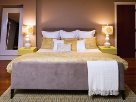 The bedroom is in bright hues is a beautiful design