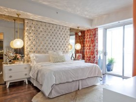 Classic bright bedroom with large Windows