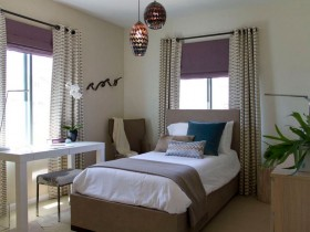 Bedroom in warm colors Oriental style