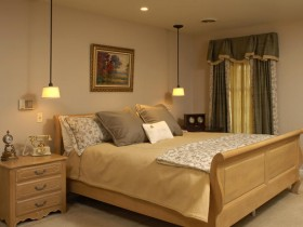 Classic bedroom interior in warm shades of