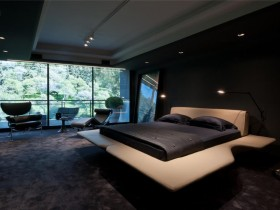 Modern interior design dark bedrooms with large Windows