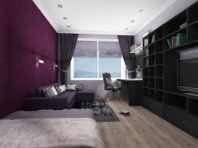 The draft of the bedroom in a dark color with white ceiling