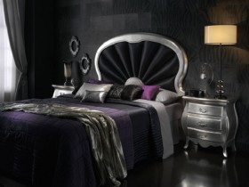 Dark bedroom in the style of classicism