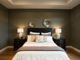 Dark bedroom with white linens