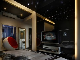 Dark bedroom with a starry sky effect