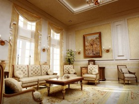 Luxurious living room in the classical style