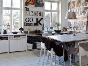 The interior of bright kitchen in Scandinavian style
