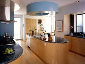 Wooden kitchen island in bright kitchen