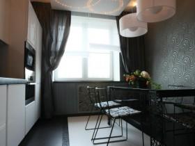 Modern interior black and white kitchen