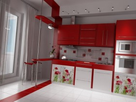 Large kitchen in red and white color