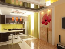 Bright kitchen interior with photo Wallpapers with flowers