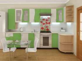 The project is a small kitchen in white and green shades