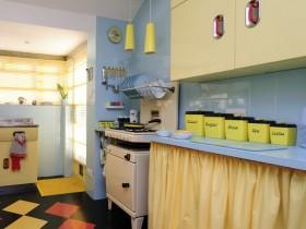 Kitchen blue with cream furniture