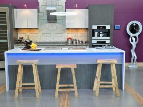 Kitchen island with simple wooden chairs