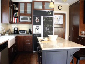 Design a kitchen with a fridge where you can write with chalk