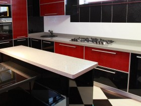 Kitchen in red and black and white