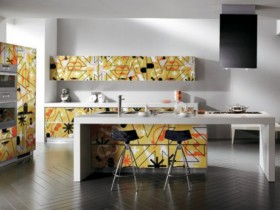 The bright kitchen in the style of kitsch