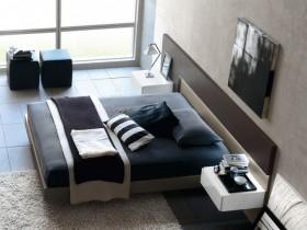 Сучасны дызайн спальні ў кантрасных адценнях