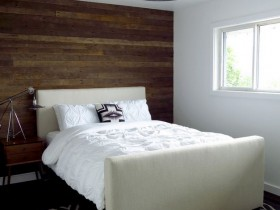 White bedroom wooden wall