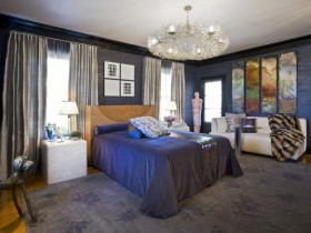 Dark bedroom in eclectic style
