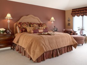 Oriental style bedroom in brown shades