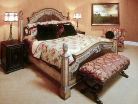 Design carved wooden bed in classic style