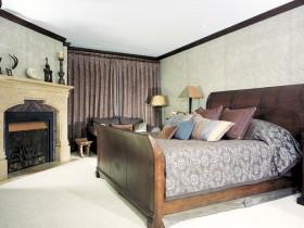 Ідэя дызайну спальні з камінам
