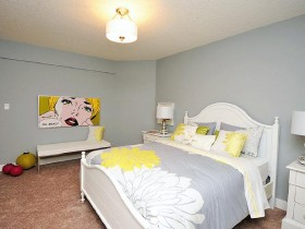 The interior of bright bedroom in the style of pop art