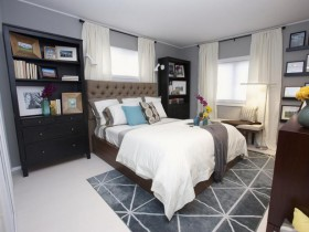 Bedroom in light grey shades